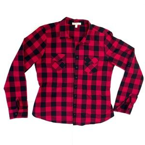 LoveFire Jr's Black & Red Plaid Button down shirt